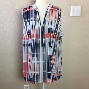 Alfani Striped Zippered Sleeveless Tunic Shirt